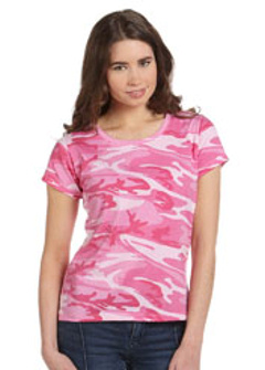 Custom embroidered 3665 Code V Ladies' Fine Jersey Camouflage T-Shirt 4 oz., 100% combed ringspun cotton print fine jersey