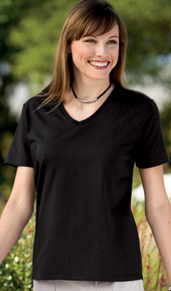 Hanes® Ladies V-Neck T-Shirt. 5780.embroidered with your logo.