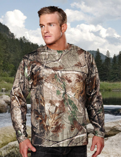 Custom embroidered Tri Mountain 622C Force Camo, moisture wicking long sleeve t-shirt