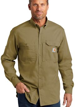 Custom embroidered Carhartt Force ® Ridgefield Solid Long Sleeve Shirt. CT102418