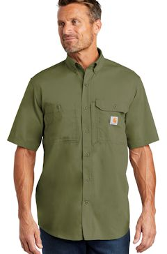 Custom embroidered Carhartt Force ® Ridgefield Solid Short Sleeve Shirt. CT102417