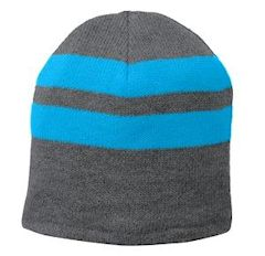 embroidered Port & Company ® Fleece-Lined Striped Beanie Cap. C922