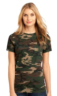 Custom embroidered District Made T - Ladies Perfect Weight Camo Crew Tee DM104CL