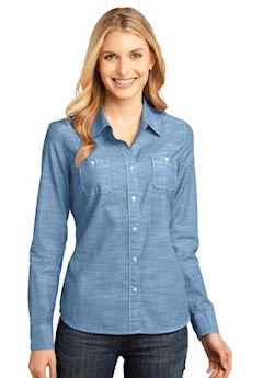 Custom embroidered District Made® - Ladies Long Sleeve Washed Woven Shirt. DM4800