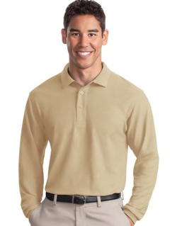 Custom embroidered Port Authority ® - Long Sleeve Silk TouchT Polo. K500LS