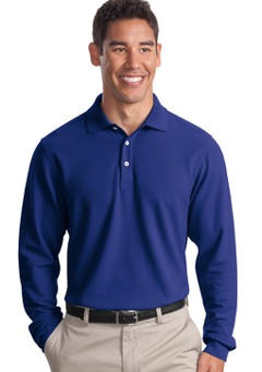 Custom embroidered Port Authority ® - Long Sleeve EZCottonT Pique Polo. K800LS