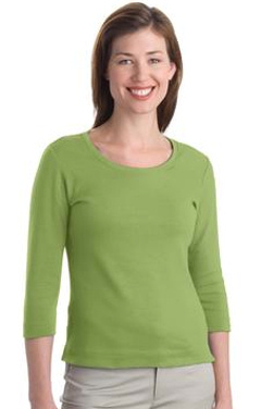 Custom embroidered Port Authority ® - Ladies Modern Stretch Cotton 3/4-Sleeve Scoop Neck Shirt. L517
