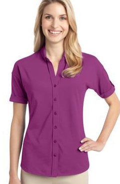 Custom embroidered Port Authority ® - Ladies Stretch Pique Button-Front Shirt. L556