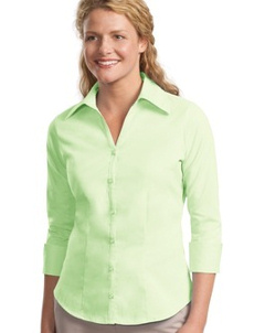 custom embroidered Port Authority ® - Ladies 3/4-Sleeve Open Neck Woven Business shirt. L629