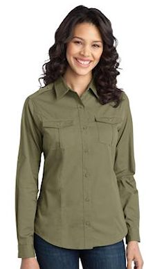 Custom embroidered Port Authority ® Ladies Stain-Resistant Roll Sleeve Twill Shirt. L649