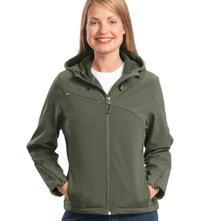 embroidered ladies Port Authority ® - Textured Hooded Soft Shell Jacket. L706.