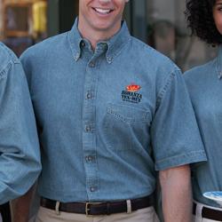Custom embroidered denim shirts no minimums wholesale for Custom work shirts cheap