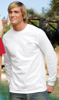 Port & Company® - 100% Cotton Long Sleeve T-Shirt with Pocket. PC61LSP, embroidered left chest.