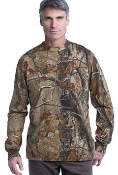 Custom embroidered Russell Outdoors T Realtree Long Sleeve Explorer 100% Cotton T-Shirt with Pocket. S020R