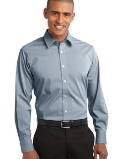 custom embroidered Port Authority ® - Fine Stripe Stretch Poplin Shirt. S647